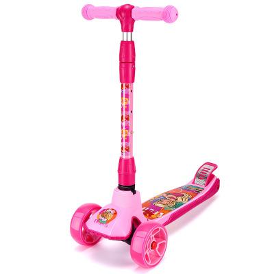 芭比儿童滑板车2-3-6岁小孩初学者宝宝男女板车闪光滑滑溜溜车