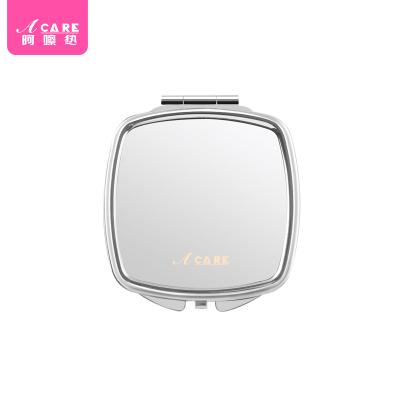 圆角镜1个#Acare时尚化妆镜便携镜女士随身折叠小镜子不锈钢双面镜少女简约