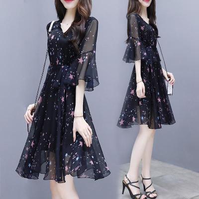 安尼純2020新款裙子女裝夏裝韓版氣質中長款網紅碎花裙雪紡連衣裙女