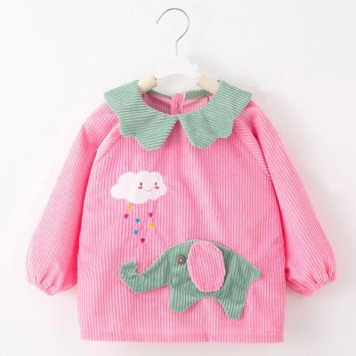 儿童防水罩衣秋冬长袖水晶绒反穿衣宝宝吃饭护衣婴儿围裙饭兜