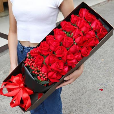 五二零 鮮花速遞全國 送愛人女友生日禮物 33朵紅玫瑰禮盒 長春深圳天津大連武漢上海北京同城花店送花上門
