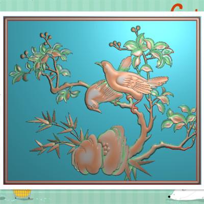 L精雕图 灰度图 浮雕石雕花鸟四季花顶箱柜板 竹子牡丹