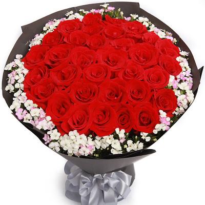 鼎卉鲜花33朵红玫瑰花束爆款,全国市区免费配送,送女友,送爱人生日表白、祝福、道歉【灿烂心情】33朵红玫瑰花束