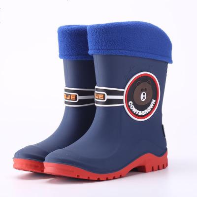儿童雨鞋男童女中大童宝宝棉雨靴子学生防滑胶鞋小孩水鞋加绒保暖