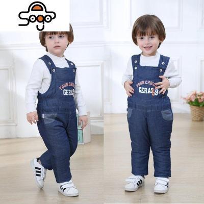 男女宝宝背带棉裤婴儿背带裤加厚两用档牛仔儿童裤子冬季童装