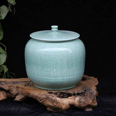 景德镇20斤 25斤 影青盖罐储物罐 陶瓷瓷器影青米罐油罐