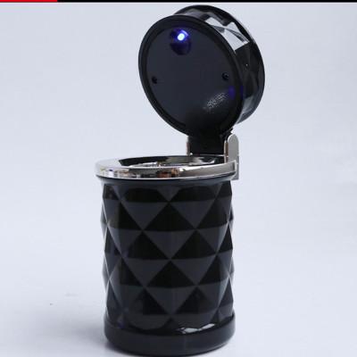 鉆石切面汽車煙灰缸車載帶led燈出風口車用煙灰缸閃電客車內煙灰黑色