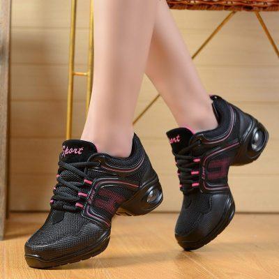 新款秋季舞蹈鞋 网面透气广场舞鞋 增高软底现代舞鞋健美操跳舞鞋