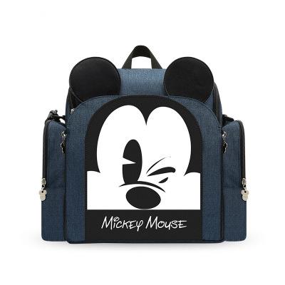迪士尼(DISNEY)双肩妈咪包多功能大容量婴儿外出便携坐凳式妈咪包出行妈咪包涤纶背包
