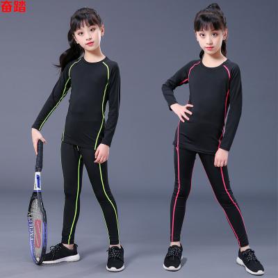 兒童緊身衣套裝女運動健身服彈力打底籃球足球訓練長袖速干衣透氣