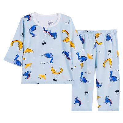 2020新款兒童棉綢套裝女童睡衣褲寶寶家居服七分褲空調服