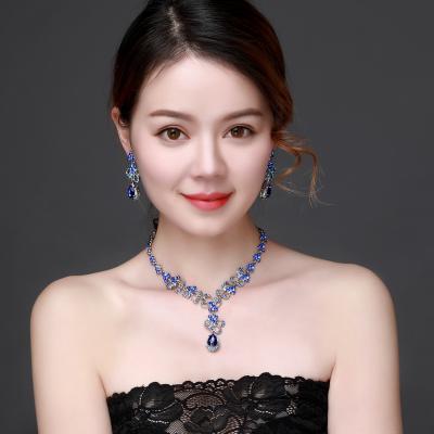 韓式水晶套裝禮服配飾新娘婚紗藍色項鏈耳環套裝鎖骨鏈配飾品