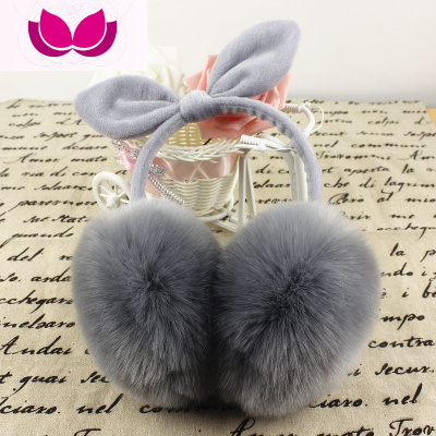 秋冬超大耳罩韓版女可愛仿皮兔耳朵蝴蝶結保暖頭飾耳唔耳包包郵