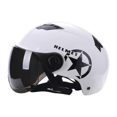 電動電瓶車摩托車頭盔安全帽男女士通用清涼夏季夏天半盔兩用 哈雷白色(茶色鏡面)防曬+防紫外線+透氣 均碼
