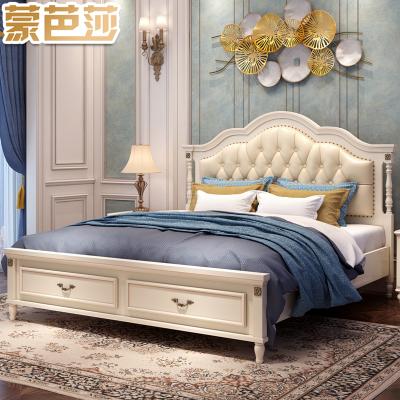 蒙芭莎家具 床 歐式床 皮床實木床雙人床 苔絲貴族 歐式床簡歐床婚床1.8米高箱床儲物床 簡約現代白色床 臥室1.5m
