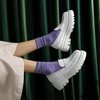 2020夏季新款白色樂福鞋厚底松糕鞋百搭平底淺口單鞋小白鞋女鞋子