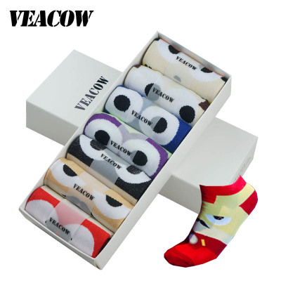 VEACOW 【7雙裝】 男士時尚個性潮流英雄襪 防臭純棉船襪 禮盒裝