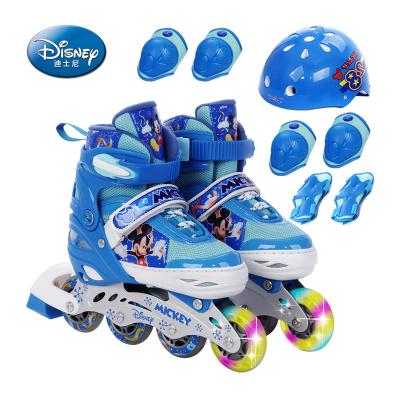 DISNEY/迪士尼藍色米奇溜冰鞋閃光輪兒童全套裝女男直排輪滑旱冰鞋可調輪滑鞋
