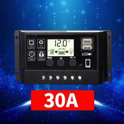 太阳能控制器12v24v全自动电池板光伏充电控制器太阳能路灯控制器 12V/24V30A