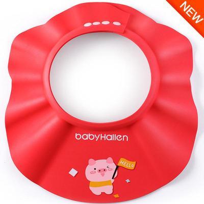 寶寶洗頭神器兒童洗帽嬰兒洗頭防水帽子護耳嬰幼兒小孩洗澡浴帽 【豬年定制】魔力豬寶中國紅 可調節