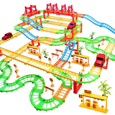 OMKHE 兒童火車軌道玩具男孩玩具車多層小火車頭益智力超大1-3歲汽車親子互動托馬斯電動過山車