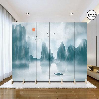 歐式屏風隔斷客廳裝飾墻現代簡約移動折疊臥室雙面布藝房間小戶型 淺黃色XY22