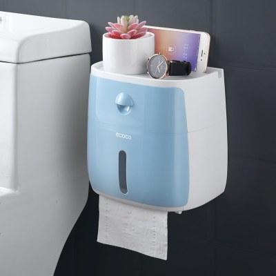 衛生間紙巾盒廁所衛生紙置物架廁紙盒免打孔防水卷紙筒創意抽紙盒 北歐藍