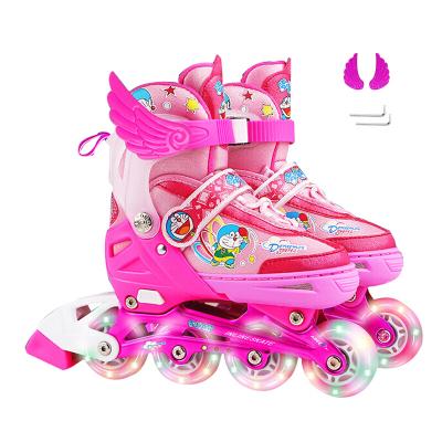 兒童溜冰鞋全套裝閃光輪滑鞋男女孩3-5-6-7周歲 【入門款】八輪全閃【粉色】 S(適用鞋碼27-32建議年齡3-6歲)