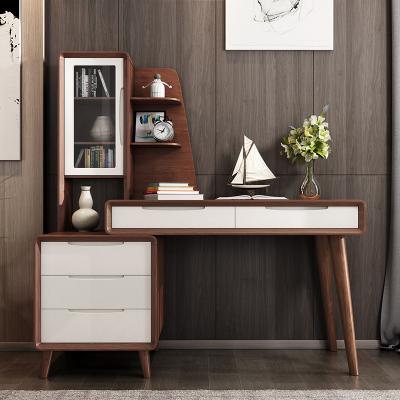北歐實木書桌帶書架組合現代簡約多功能可伸縮電腦桌書房辦公桌
