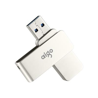 爱国者(aigo)64GB USB3.0接口 高速传输U330精耀 全金属旋转U盘 电脑U盘 车载U盘银色