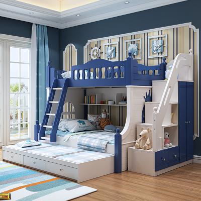 智扣兒童床上下床雙層床上下鋪木床雙層高低床男孩實木子母床帶多功能 溫馨提示 1200mm*1900mm更多組合形式