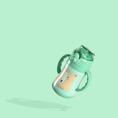 babycare兒童保溫杯水杯 吸管杯寶寶學飲杯 兒童保溫水杯 淺綠 240ML