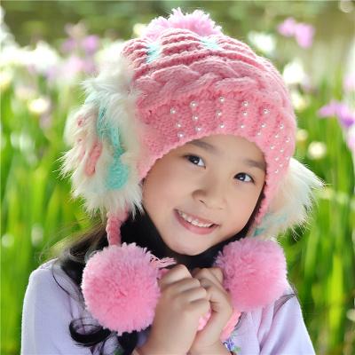抹炫(MOXUAN)儿童帽子女秋冬季女童公主护耳针织帽韩版宝宝小孩加绒保暖毛线帽