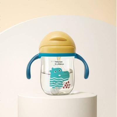 babycare兒童水杯 夏季喝水幼兒園寶寶防漏防嗆吸管杯帶重力球學飲杯 洛克黃 240ml-把手款