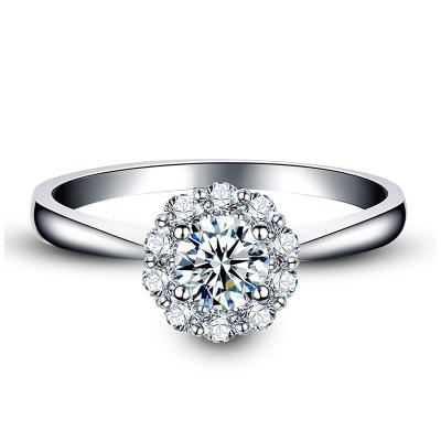 珂兰 白18K金群镶款钻石戒指 1.5克拉效果 结婚求婚钻戒女款 倾城 需定制