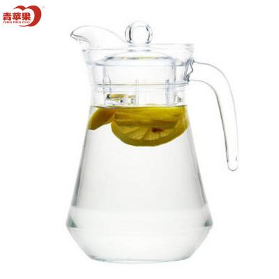 青蘋果玻璃冷水壺家用1300ml大容量鴨嘴壺不保溫涼水壺果汁壺