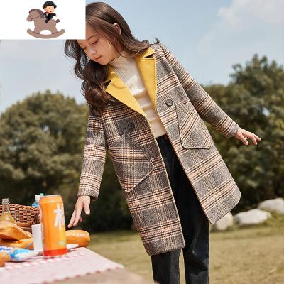 女童毛呢外套儿童呢子大衣格子中长款2019新款秋季女大童洋气夹棉