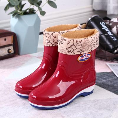 2019新款休闲舒适雨鞋女中筒成人短筒水鞋防滑加绒保暖时尚雨靴高低筒水靴防水胶鞋 PVC 防雨鞋 女 欧蔓得