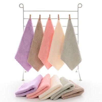 珊瑚絨毛巾四方嬰兒童洗臉寶寶加厚手帕吸水小方巾家用5條裝