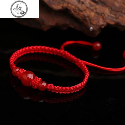 天然紅瑪瑙水晶編織手鏈手編平安結紅繩手串民族風女手工飾品   JiMi