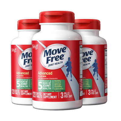 3件裝|Schiff Movefree維骨力氨糖軟骨素鈣片 MSM止痛加強版 120粒