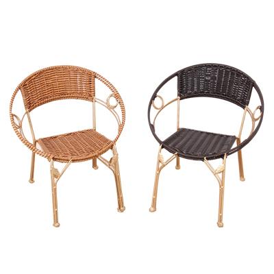 藤凳子藤椅小藤椅子居家小凳子户外时尚塑料矮凳子靠背椅铁艺茶几创意椅子庭院
