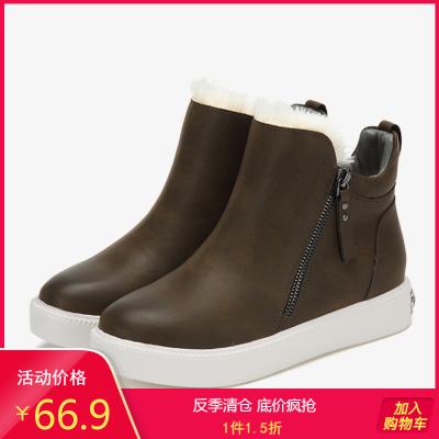 SHOEBOX/鞋柜女靴 冬時尚簡約踝靴保暖雪地靴平底短靴女
