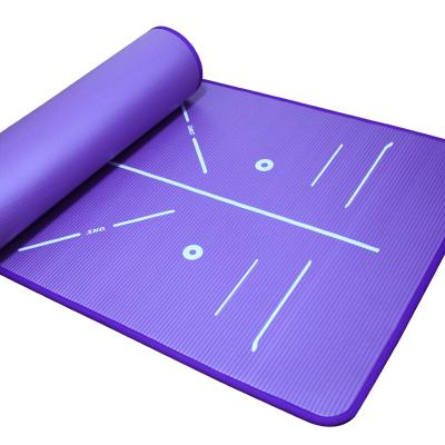 紅雙喜(DHS)瑜伽墊升級款男女通用防滑加寬加大加厚專業健身墊仰臥起坐運動墊NBR材質JSD010-1深紫色送收納束帶