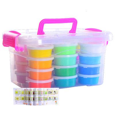 兒童無毒橡皮泥彩泥超輕粘土24色杯裝收納盒太空泥水晶手工黏土帶三件工具套裝玩具 速翔玩具