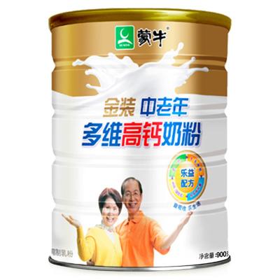 蒙牛(MENGNIU)金装中老年多维高钙牛奶粉罐装900g即食冲饮关爱家人