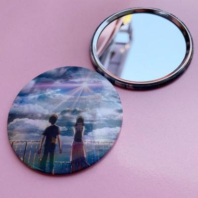 馬口鐵小圓鏡迷你化妝鏡卡通女學生小鏡子雙面鏡圓形隨身純色鏡