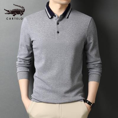 卡帝樂鱷魚(CARTELO)純棉POLO衫新款男士長袖T恤翻領商務休閑體恤上衣