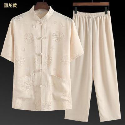 唐裝男短袖棉麻套裝爸爸裝夏中老年漢服中國風男裝老年人爺爺衣服 諾妮夢