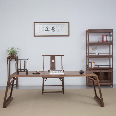 唐臻新中式老榆木書桌書案畫桌設計風辦公桌琴桌禪意書法桌實木茶藝桌